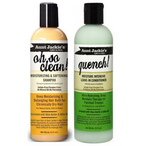 Aunt Jackie's - Set Oh So Clean Shampoo (12oz) & Quench Leave-In Conditioner (12oz)