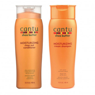 Cantu - (Set 2 Pieces) Moisturizing Cream Shampoo & Moisturizing Rinse Out Conditioner 13.5 oz