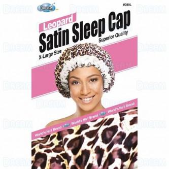 Dream WOMENS SATIN SLEEP CAP FLORAL LEOPARD