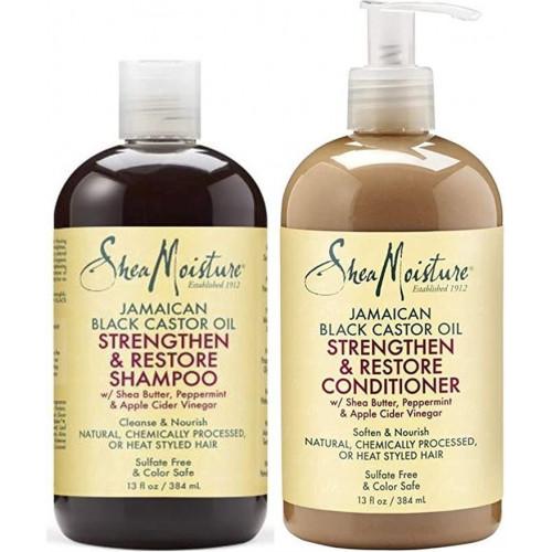 Shea Moisture - Jamaican Black Castor Oil Strengthen & Restore Shampoo (13oz) & Conditioner (13oz)