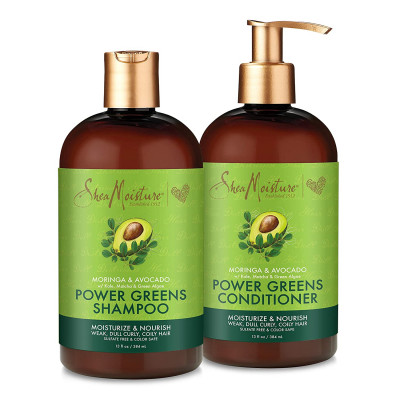 SheaMoisture - (2 Piece Set) Power Greens Curly Hair Shampoo and Conditioner 13oz
