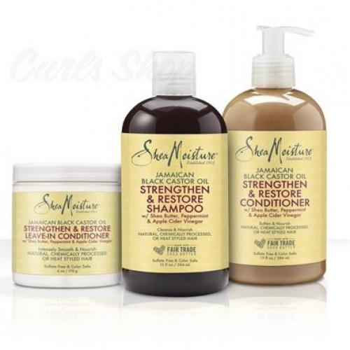 Shea Moisture - Jamaican Black Castor Oil Set Shampoo+Conditioner+Leave-In