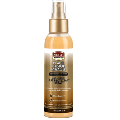 African Pride - Black Castor Miracle Anti-Humidity Heat Protectant Spray (4oz)