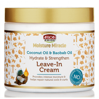 African Pride - Moisture Miracle Coconut Oil & Baobab Oil Leave-In Cream (15oz)