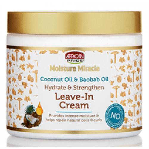 African Pride - Moisture Miracle Coconut Oil & Baobab Oil Leave-In Cream (15oz)
