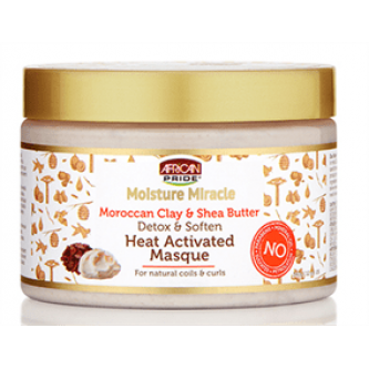 African Pride - Moisture Miracle Moroccan Clay & Shea Butter Heat Activated Masque (12oz)